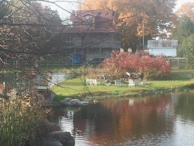 orange, green and red trees, brown cabin with red roof in the background, white patio chairs on green grass, small pond in the front