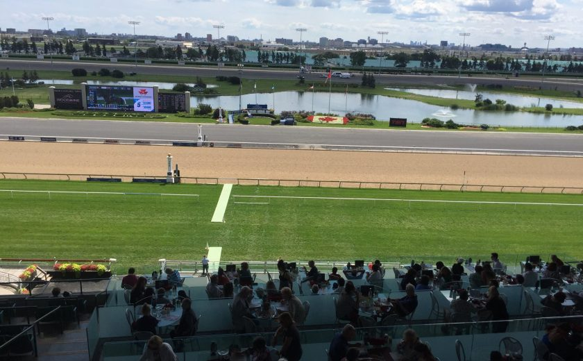 Woodbine Races, outdoor picture of the racetrack, groups of people watching in the front, green grass area, light brown racetrack, grey pavement, blue water in the back with patches of green grass, light blue sky with lots of clouds