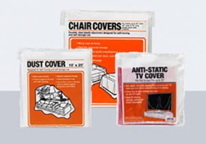 chair covers, dust cover, and anti-static tv cover in white and orange packaging
