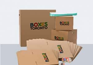 Several brown Boxes Toronto boxes displayed with a white background