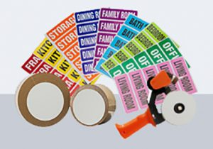 red, yellow, orange, blue, purple, blue, green, and pink tape labels