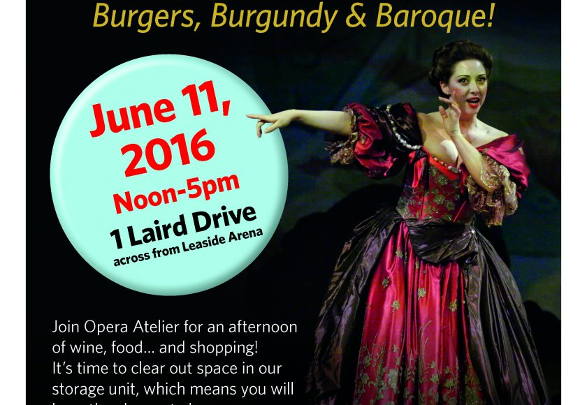 Opera Atelier Costume Sale Poster, lady dressed in a pink, purple and gold costume, pointing at the date and location June 11, 2016 from noon-5pm at 1 Laird Drive