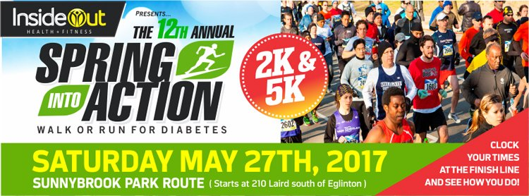 Spring Into Action! Walk or Run For Diabetes event banner with the date and location