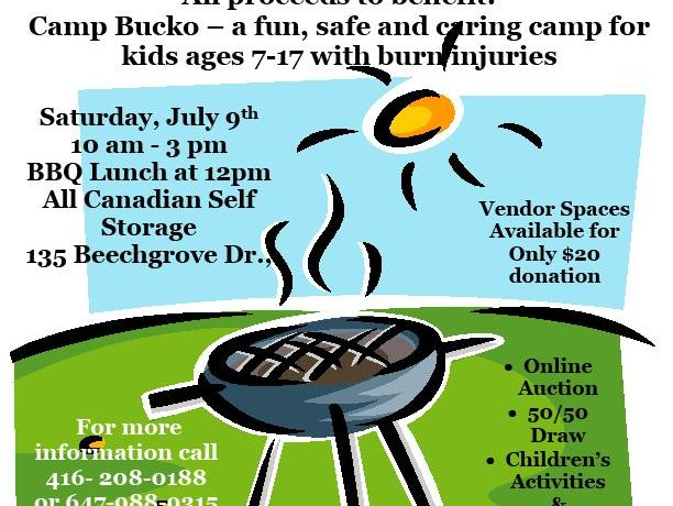 Community BBQ and Garage Sale Event poster with date and location