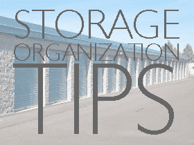 storage organization tips text with outdoor facility in the background