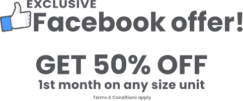 exclusive facebook offer! get 50% off 1st month on any size unit