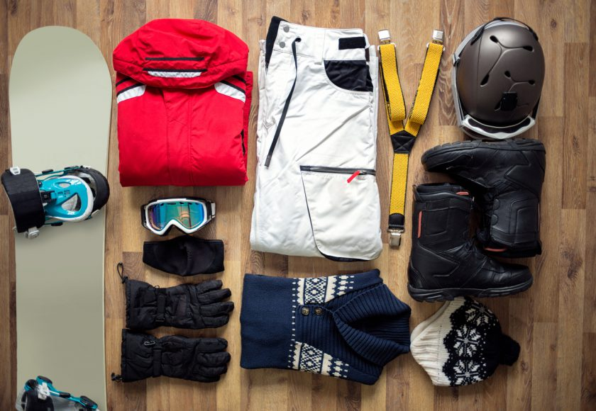 Travel items on the floor for mountain trip